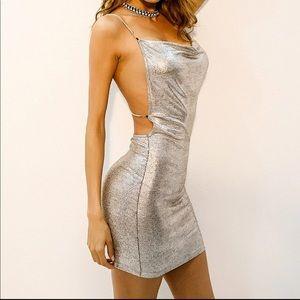 SHEIN silver party dress